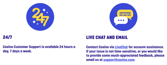 caxino casino live chat and email support