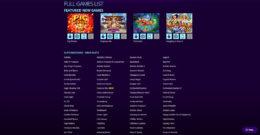 Dreams Casino games list