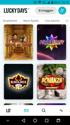 Lucky Days mobile Casino