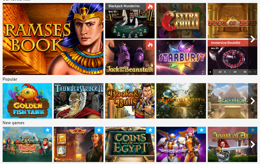 Wunderino Casino Games
